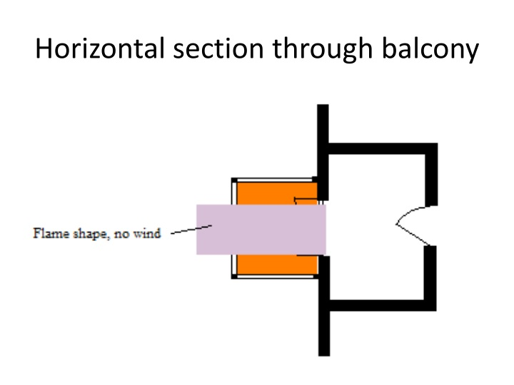 Horizontal section through balcony