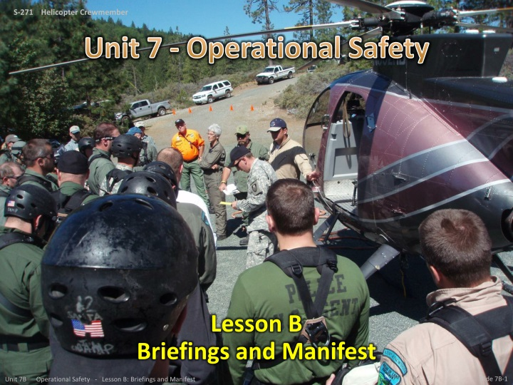 Lesson b briefings and manifest