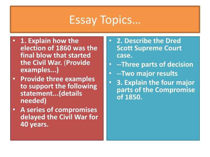 Essay Topics…