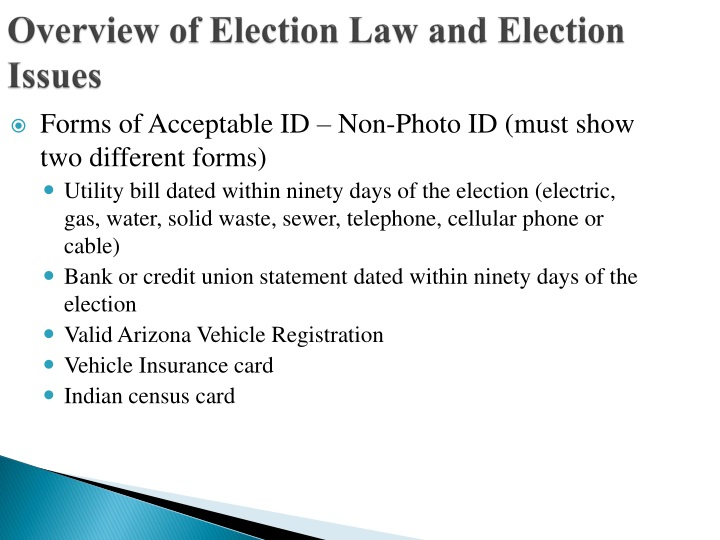 Overview of Election Law and Election Issues