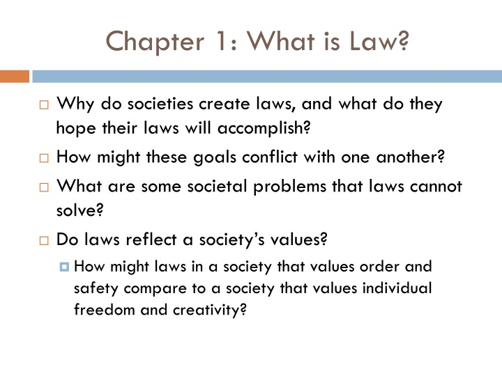 Chapter 1 what is law