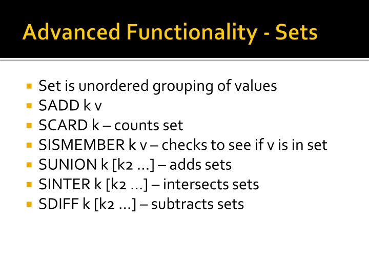 Advanced Functionality - Sets