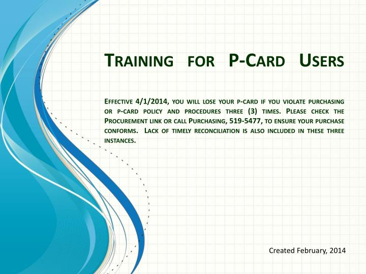 Training for P-Card Users