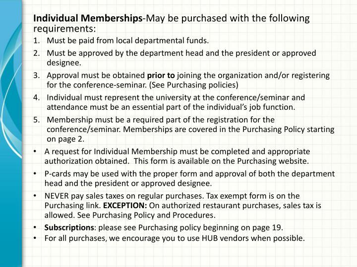Individual Memberships