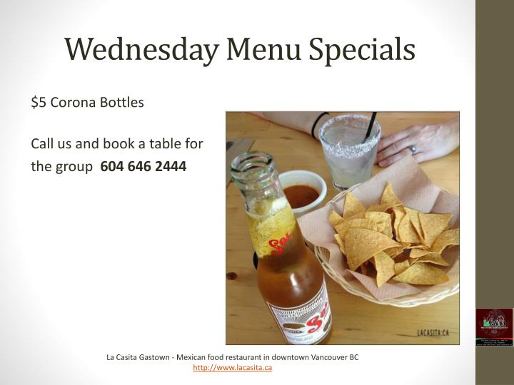 Wednesday Menu Specials