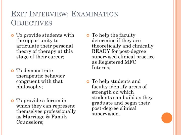 Exit Interview: Examination Objectives