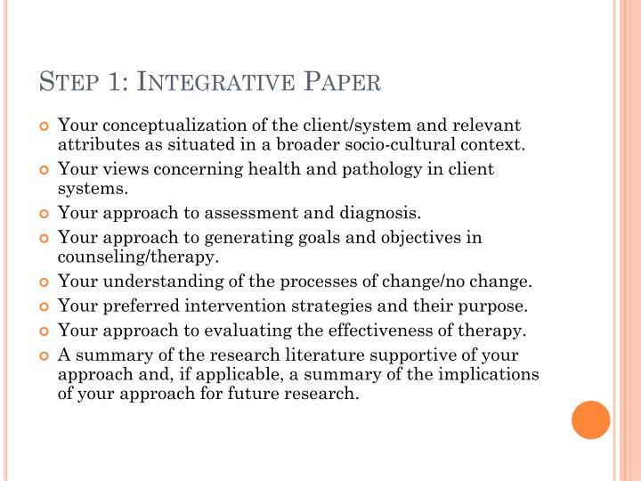 Step 1: Integrative Paper