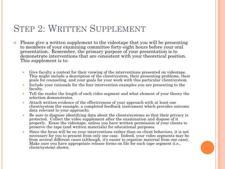 Step 2: Written Supplement