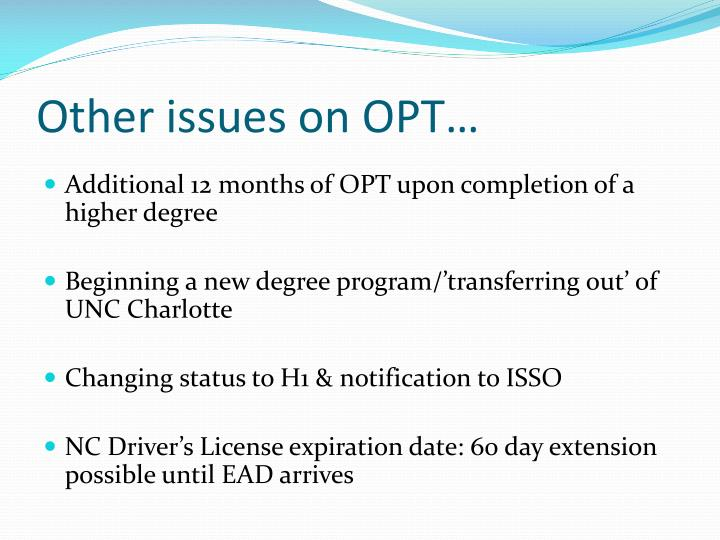 Other issues on OPT…