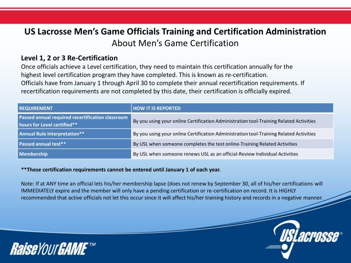 US Lacrosse Men's Game Officials Training and Certification Administration