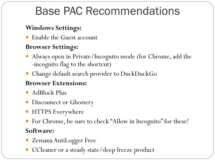 Base PAC Recommendations