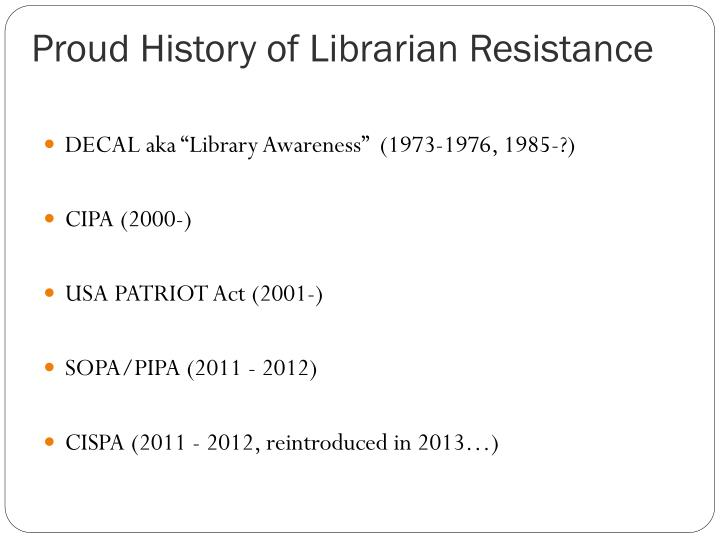 Proud History of Librarian Resistance