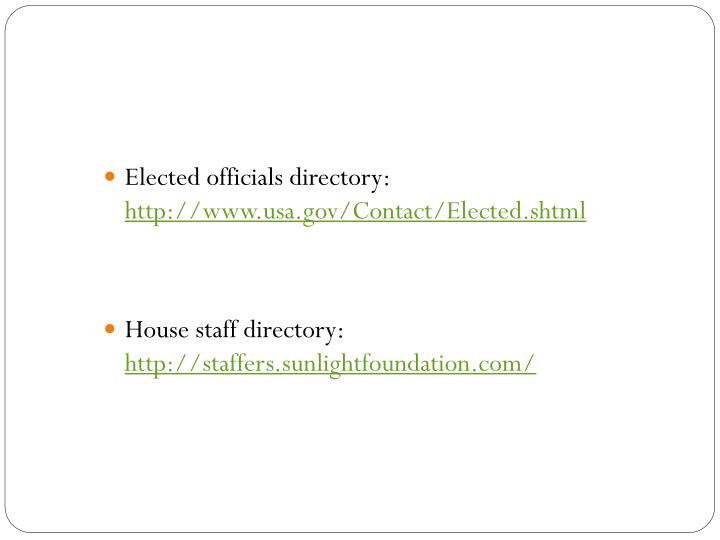 Elected officials directory: