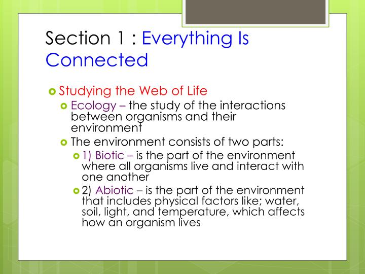 Section 1 everything is connected