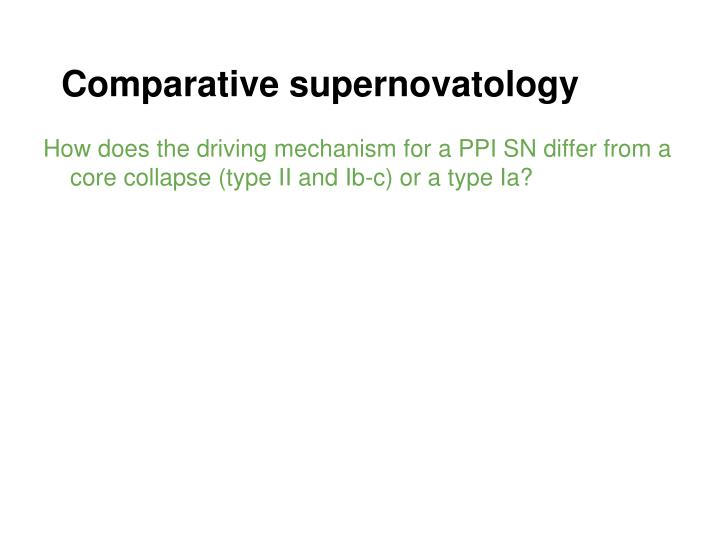 Comparative supernovatology