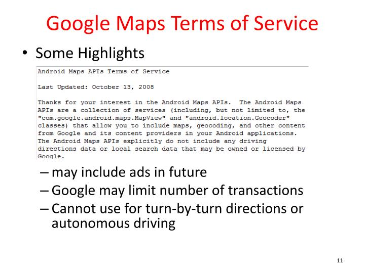 Google Maps Terms of Service