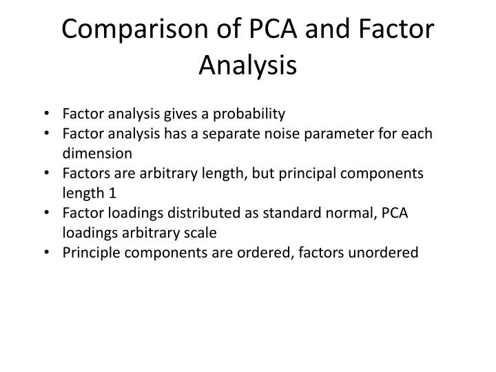 Comparison of PCA and Factor Analysis