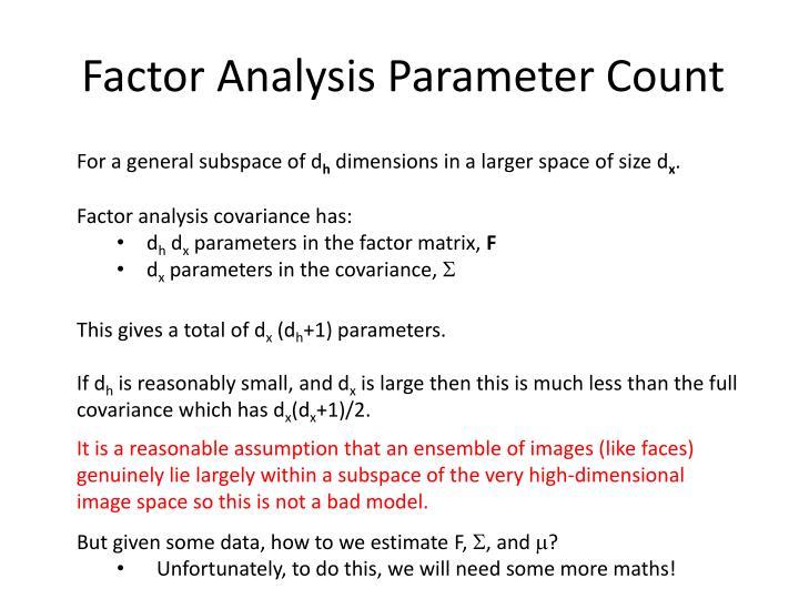 Factor Analysis Parameter Count