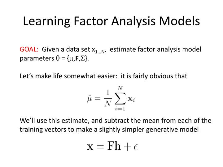 Learning Factor Analysis Models