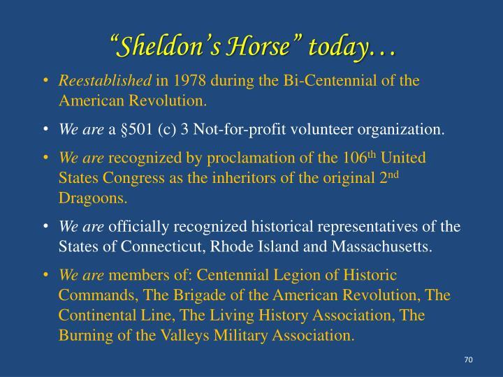 """Sheldon's Horse"" today…"