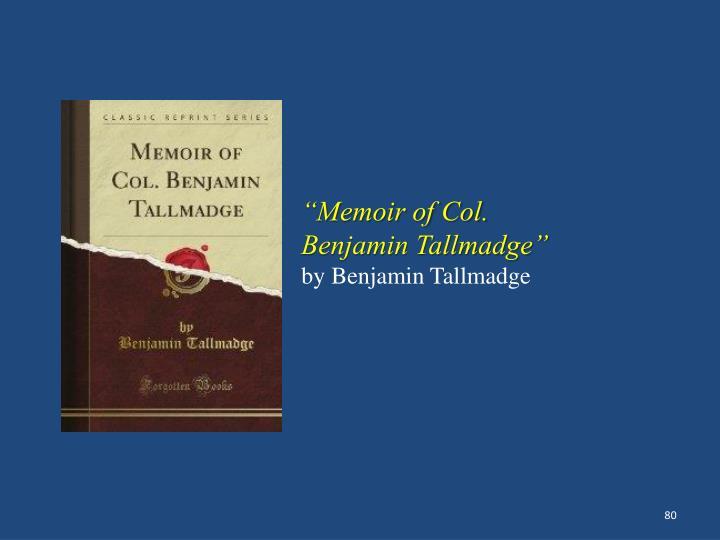 """""""Memoir of Col."""