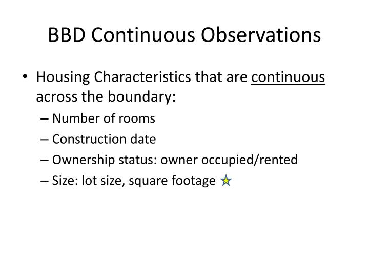 BBD Continuous Observations