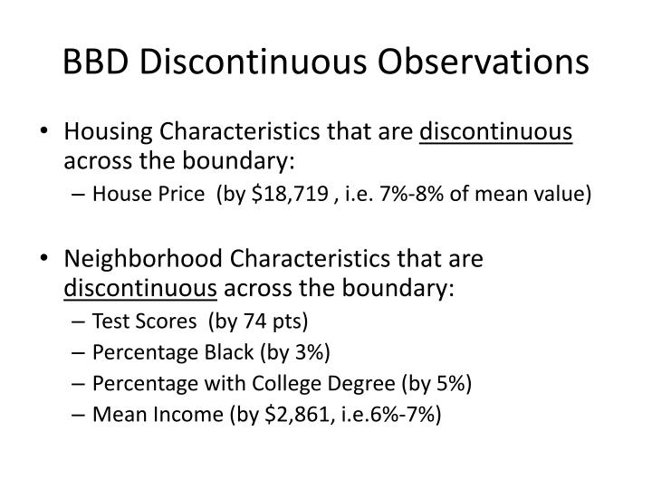 BBD Discontinuous Observations