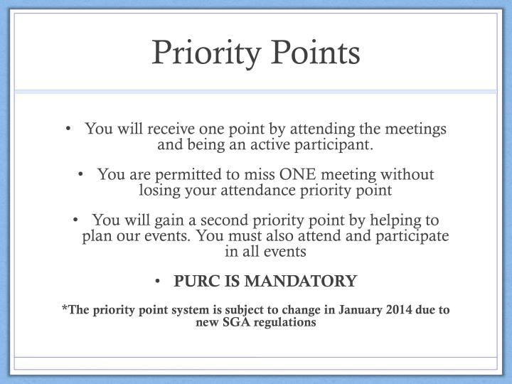 Priority Points