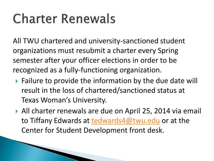 Charter Renewals