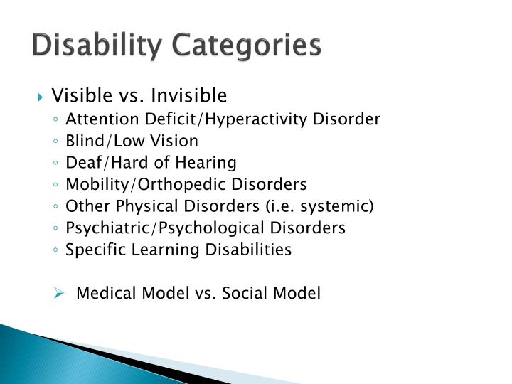 Disability Categories