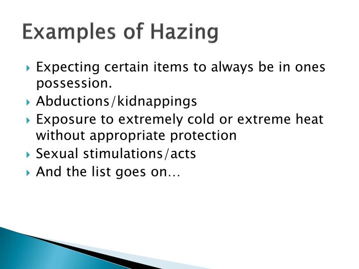 Examples of Hazing