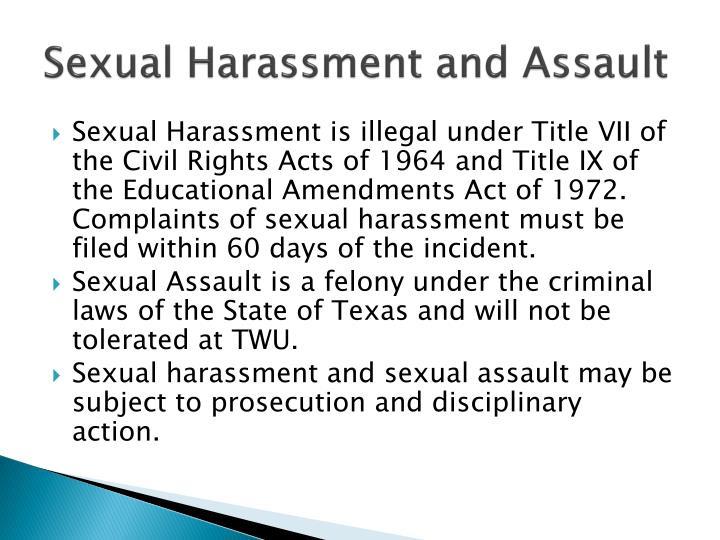 Sexual Harassment and Assault