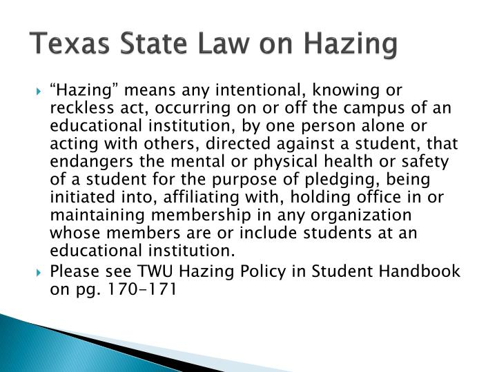 Texas State Law on Hazing