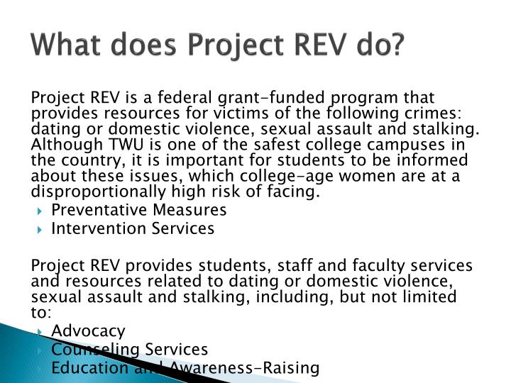 What does Project REV do?