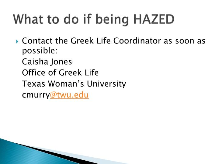 What to do if being HAZED