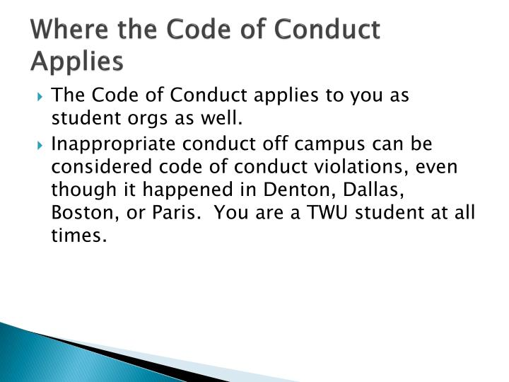 Where the Code of Conduct Applies