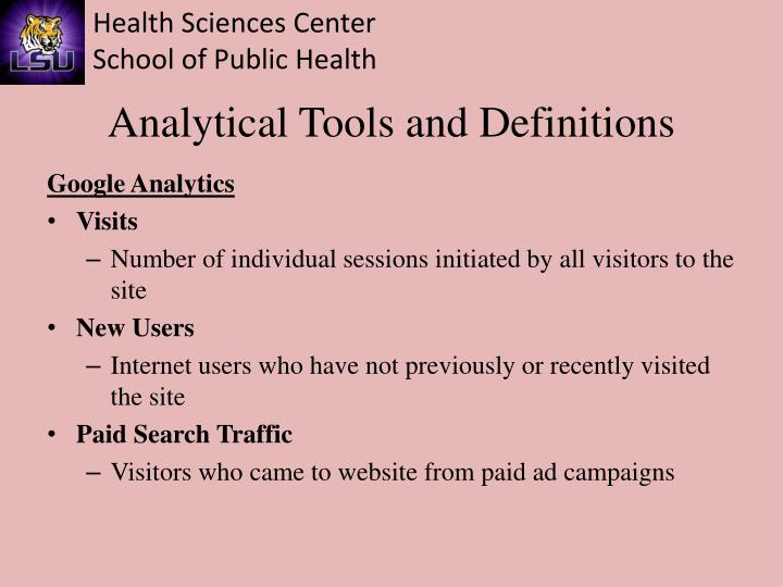 Analytical Tools and Definitions