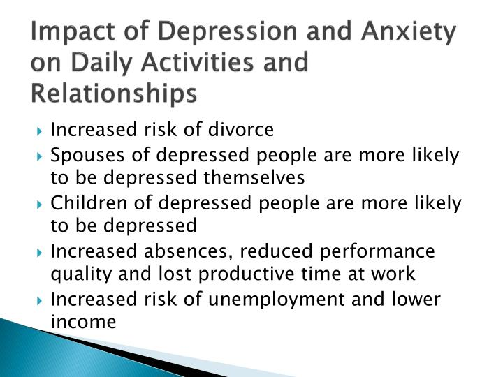 Impact of Depression and Anxiety on Daily Activities and Relationships