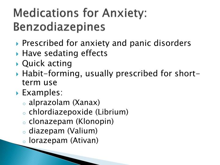 Medications for Anxiety: Benzodiazepines
