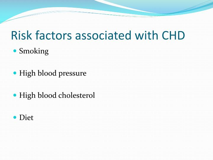 Risk factors associated with CHD