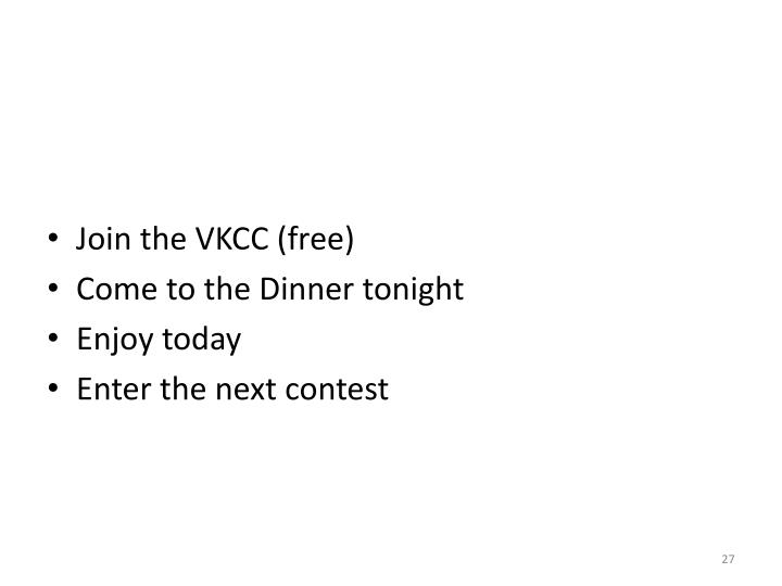 Join the VKCC (free)