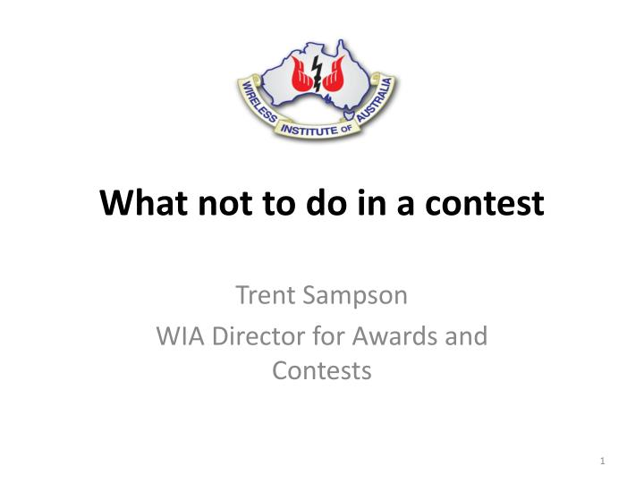What not to do in a contest