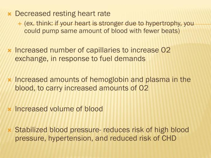 Decreased resting heart rate