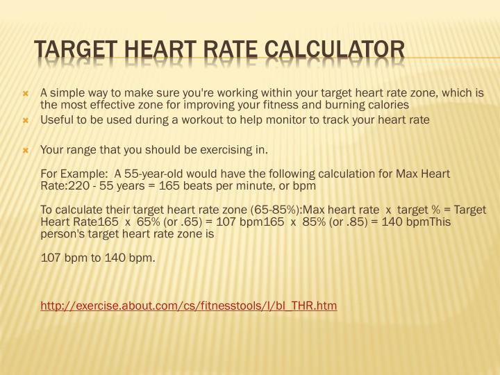 A simple way to make sure you're working within your target heart rate zone, which is the most effective zone for improving your fitness and burning calories