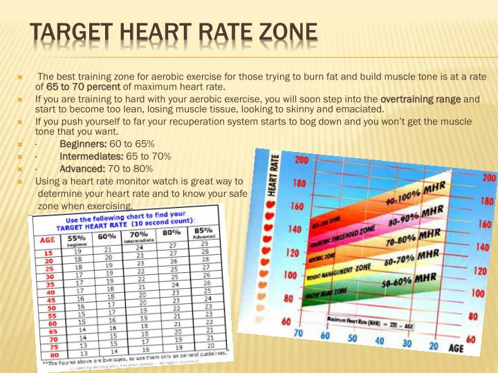 The best training zone for aerobic exercise for those trying to burn fat and build muscle tone is at a rate of