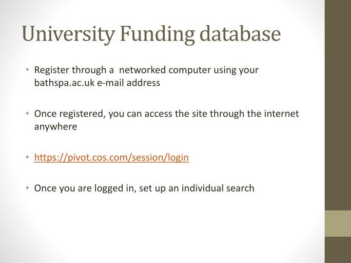 University Funding database