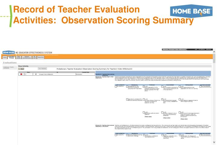 Record of Teacher Evaluation