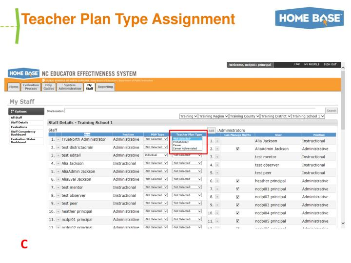 Teacher Plan Type Assignment