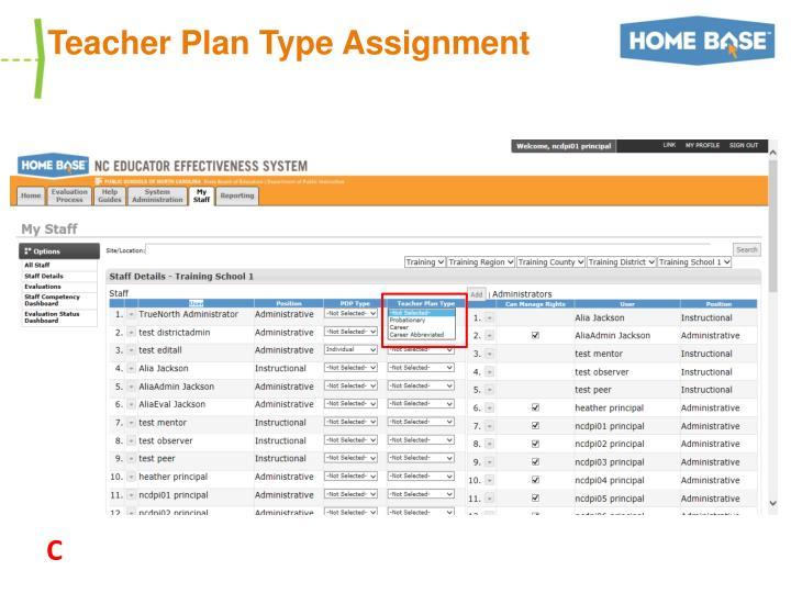 Teacher Plan Type Assignment