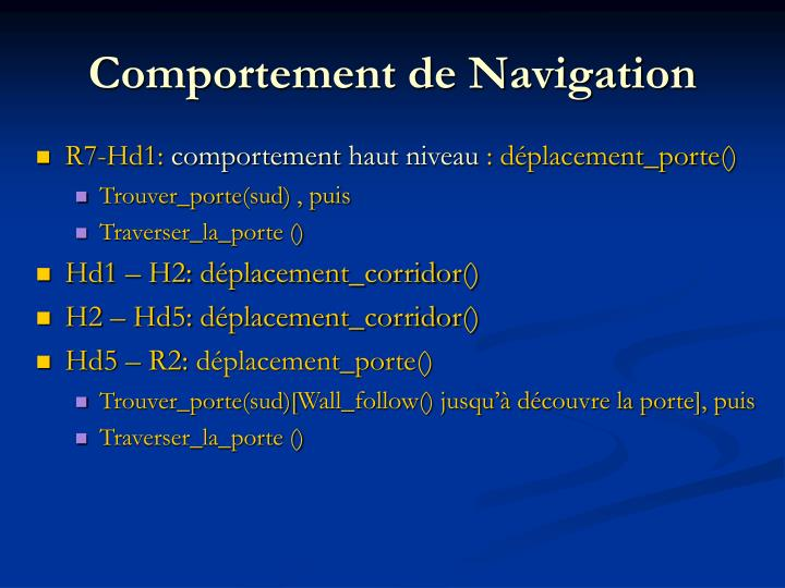 Comportement de Navigation